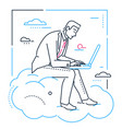 businessman with a laptop - line design style vector image