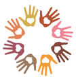 Circle of 8 loving hand prints vector image vector image