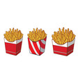collection cardboard box with french fries hand vector image vector image