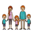 color crayon stripe cartoon family with young vector image vector image