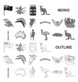 country australia monochrom icons in set vector image vector image