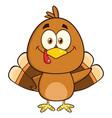 cute turkey bird cartoon character waving vector image vector image