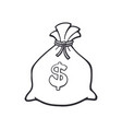 doodle bank bag with dollar sign vector image