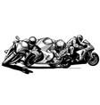 draw motorcycles racers biker vector image