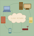 Electronic Devices connected to cloud server vector image vector image
