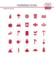 farming icons set red vector image
