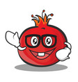geek face pomegranate cartoon character style vector image vector image