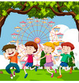 happy children playing in park with ferris wheel vector image