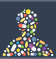 heap of tablets capsules and pills vector image vector image