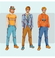 Hipster boy character set vector image