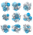 isometric abstract backgrounds with linear vector image vector image