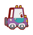 line color kawaii happy tractor vehicle transport vector image vector image
