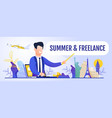 man promoting remote work during travel banner vector image vector image