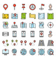 map location pin and navigation filled outline vector image