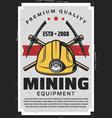 miners equipment mining industry axe pick helmet vector image