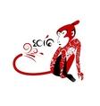 Monkey Samurai in japanese-russian style vector image vector image