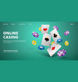 online casino landing page realistic cards vector image vector image