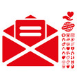 open mail icon with valentine bonus vector image vector image