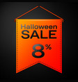 orange pennant with inscription halloween sale vector image
