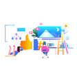people using digital gadgets social media network vector image