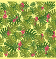 plant seamless pattern with hibiscuspalm vector image