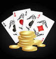 playing cards and gold coins vector image vector image
