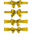 Satin golden ribbons Gift bows vector image