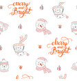 seamless pattern merry christmas snowman vector image vector image