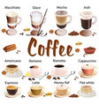 set different types coffee isolated on vector image vector image