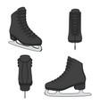 set images with black skates for figure skating vector image vector image