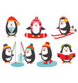 set of isolated cute penguins vector image vector image