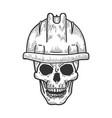 skull in work helmet sketch engraving vector image