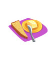 slice of brown bread with grains on purple table vector image