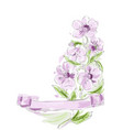spring flower and ribbon vector image vector image