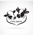 two cows head design on a white background vector image vector image