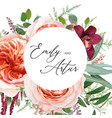 watercolor wedding floral invite card floral roses vector image
