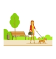 Woman Walking The Pet Dog On The Leash Part Of vector image