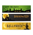 Three Halloween landscape banners Green dark and vector image