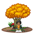A black woman reading under the tree vector image