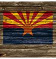 arizona az flag on old timber wall vector image vector image