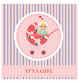 baby carriage greeting card to newborn baby it s vector image vector image