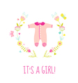 Baby Girl Shower or Arrival Card - with Bodysuit vector image vector image