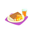 belgian waffles with honey on plate and freshly vector image