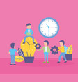 business people bulb clock vector image vector image