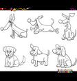 cartoon dogs and puppies coloring book page vector image vector image