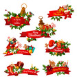 christmas wish greeting ribbons icons vector image vector image