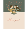Couple in love eating spaghetti vector image