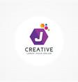 creative hexagonal letter j logo vector image