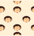 cute head monkey cartoon seamless pattern vector image
