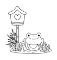 cute toad in the landscape with birdhouse vector image vector image